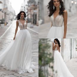 ca85c3755c2 2019 Navi Blue A Line Wedding Dresses V Neck Lace Beaded Rhinestone Boho Wedding  Dress Sweep Train Backless Customized Vestidos De Novia