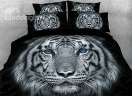 tiger beds NZ - Tiger with Blue Eyes Printed 4-Piece Animal 3D Bedding Sets Duvet Covers