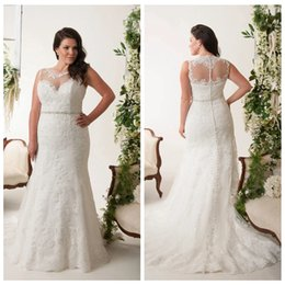 jewel spring Australia - Gorgeous see Throug Jewel Neck Wedding Dresses with Tulle Applique Vestidos de Novia A-Line Plus Size Mermaid Bridal Gowns