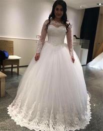 $enCountryForm.capitalKeyWord Australia - Simple Ball Gown Wedding Dresses 2019 New Long Sleeve Lace Applique Floor Length Scoop Neck Formal Wedding Gowns Bridal Dress