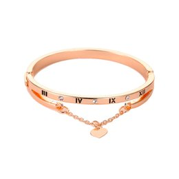 Romantic Figures Australia - Romantic Love Bangles For Lovers Luxury Gold Crystal Heart Charms Chain Tassels Figure Engrave Bracelets Jewelry Gift For Women
