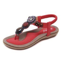 $enCountryForm.capitalKeyWord Australia - 2019 Bead Sandals Bohemian Flat Bottom Plus Size Women's Shoes Pearls Sandals Flat Beach Shoes