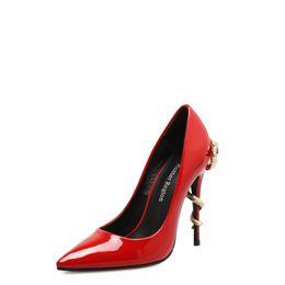 $enCountryForm.capitalKeyWord Australia - Cool2019 Season Red Patent Leather Woman Fine Land Sharp Shallow Mouth Metal Snake With Nightclub Single Shoe