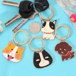 wholesale dog lover gifts NZ - Gold Plated Metal Animals Keychain Cartoon Cat Dog Keyring Wedding Favors Party Gift Key Chain + DHL free shipping