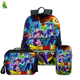 dragon backpacks Australia - Dragon Ball Super Broly Backpack Pencil Case School Bags for Teenager Boys Girls Lunch Backpack 3Pcs Sets Kids Travel