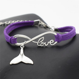 whale tail charms NZ - Hot Sale Infinity Love Sea Animal Whale Tail Bracelet Bangles Handmade Braided Purple Leather Suede Cuff Bracelet Fit Women Men Jewelry Gift