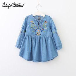 vintage flower girl dresses for toddlers 2019 - Spring Autumn Cotton Denim dress Little Girls floral dress vintage embroidery flower dresses Toddler Clothing For Party