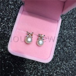 $enCountryForm.capitalKeyWord Australia - 925 Silver Material Freshwater Pearl Earring Zircon White Steamed Bread Pearl Gold Stud Earrings Women Jewelry Gift Free Shipping