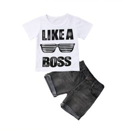 $enCountryForm.capitalKeyWord UK - Baby Boys Tops T-shirt Cotton Letter Short Sleeve Denim Shorts 2Pcs Set Clothes Casual Newborn Toddler Kids Boys Kid