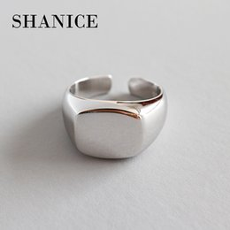 925 Sterling Silver Knuckle Rings Australia - Shanice 100% 925 Sterling Silver Jewelry Smooth Wide Square Open Ring Knuckle Tail Open Ring For Women Anello J190620