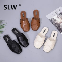 Discount lady slipper footwear - Slides slipper Flat closed toe summer Fretwork women Rome sandals woman gladiator lady slides ladies slippers footwear f
