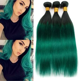 brazilian straight hair 3bundles 18 inches Australia - Dark Green Ombre Human Hair Bundles Straight #1B Green Ombre Brazilian Hair Weaves Black Roots Green Ombre Virgin Hair 3Bundles Double Wefts