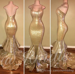 $enCountryForm.capitalKeyWord NZ - Gold Sequined Mermaid Prom Dresses Spaghetti Straps Sexy Backless Sweep Train Formal Evening Party Gowns Simple Cheap Dress Tiered Ruffles