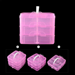 Fold Storage Box Australia - Fold 3 Layer Nail Art Decor Storage Box Plastic Empty Cosmetic Containers Makeup Packaging Nail Dust Collector Manicure Case