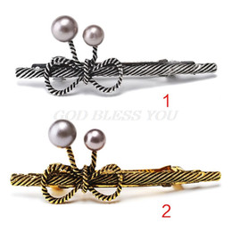 $enCountryForm.capitalKeyWord Australia - Vintage Women Metal Alloy French Hair Clips Braided Hollow Out Bowknot Faux Pearl Ponytail Holder Pigtail Spring Hairgrips Party