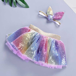 wholesale tutus Australia - 2019 Baby Girls Rainbow TUTU Skirt Set Headband +Tutu Skirt Rainbow Tutus Birthdays Party Tutus Skirt Girls Pettiskrit Cloth C31