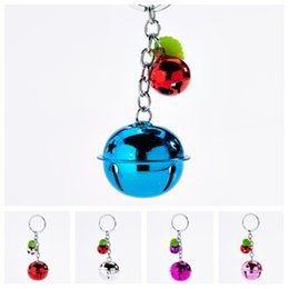$enCountryForm.capitalKeyWord Australia - New Korean fashion cute candy color bell key ring couple pendant two-color metal paint Keychains lady bag pendant children's toys T2C5044