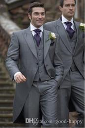 $enCountryForm.capitalKeyWord Australia - Wholesale - HOT -- Classic Design Peaked Lapel Grey Morning Style Tailcoat Men Party Groomsmen Suits in Wedding Tuxedos (Jacket+Pants+Tie+Ve