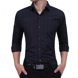 Fine Shirts Australia - Brand 2019 Fashion Male Shirt Long-sleeves Tops Fine Business Casual Shirt Slim Mens Dress Shirts Slim Men Shirt 3xl