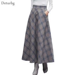 3af37b6f3d Beige Plaid Skirt Australia - Japanese Style Vintage Plaid Long Skirt For  Women Streetwear Zipper Elastic