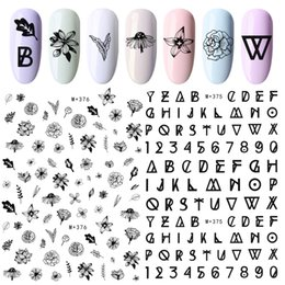 Pink rose decals online shopping - 1 Sheet Line Nail Stickers Rose Water Decals Embossed Blooming Flower Vines English Letter Number DIY Manicure Nails Art Tools
