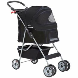 Wholesale 4 Wheels Pet Stroller Cat Dog Cage Stroller Travel Folding Carrier black
