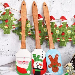 Wholesale colored stockings for sale - Group buy Christmas Series Scraper Cake Baking Tools Scrapers Colored Drawing Multi Styles Wooden Handle Silicone Butter Squeegee Creative yb L1