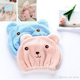 bored hair NZ - Bear Women Hair Dry Cap Towels Women Cartoon Bear Quickly Dry Hair Hat Ladies Cap Bathing Drying Hair Towel