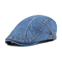 30d4ed7efdf wholesale Summer Autumn Cotton Denim Flat Cap Men Ivy Caps Blue Newsboy  Women Cabbie Beret Hat Gatsby Driver Hats 388