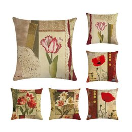 Painting oil Paints online shopping - Fashion Oil Painting Flower Home Decorative Cushion Cover Sofa Throw Pillow case Cotton Linen Square Almofadas Cojines ZY234