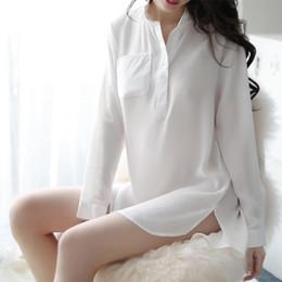 New Night Suit Australia - Popular style long night new sexy lingerie sexy perspective white shirt uniform seductive home open shoulder bag hip suit