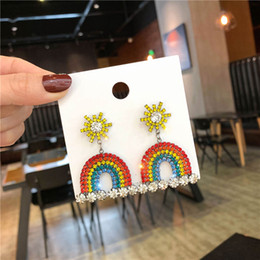 rainbow crystals Australia - Apm brand classic style S925 silver needle colorful rainbow crystal earrings European fashion luxury designer jewelry female dangle earrings