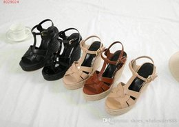 539bb7ead Novo início da primavera das mulheres sapatos importados couro genuíno O  salto inclinado original sola mulheres sapatos de salto alto sandálias