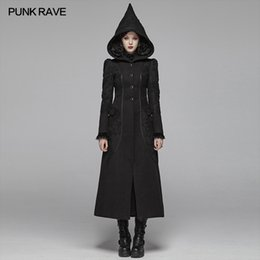 cotton patchwork coats for women UK - PUNK RAVE Women's Gothic Thickened Woolen Lace Splice Long Coat Winter Warm Party Club Halloween Trench Coat for