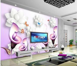 $enCountryForm.capitalKeyWord Australia - 3D hand drawn calla lily stereo TV background wall painting wallpaper for walls 3 d for living room