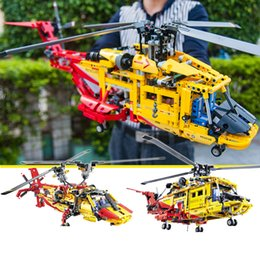 Kids Block Set Australia - 1056pcs Big Compatible LegoING Technic 2in1 Rescue helicopter Building Blocks Kit Bricks Set City Excavator Model Kids Toys Gift