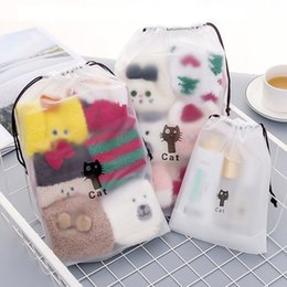 drawstring cosmetic bag Australia - 1 Pc Cute Cat Transparent Cosmetic Bag Travel Makeup Bag Women Drawstring Make Up Organizer Storage Pouch