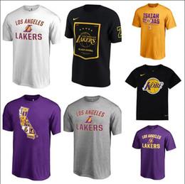 c8a7bd438fe 18-19 Season Men Women Youth 9 Rondo 24 Kobe 23 James 2 Ball 14 Ingram Purple  Black Yellow White Team Big Logo Basketball T-Shirt