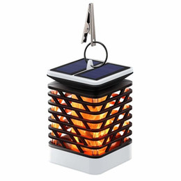 solar umbrellas UK - 75LED Flame Flicking Solar Lantern Dancing Fire Lantern Hanging Solar Garden Light for Patio Umbrella Tree Pool Pavilion Porch