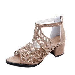 $enCountryForm.capitalKeyWord NZ - Ladies Gladiator Sandals Women Block Heel Shoes Woman Brand Luxury Open Toe Pumps Sexy Hollow Out Zip Sandale Mariage Shoes with Crystals