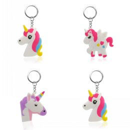 $enCountryForm.capitalKeyWord Australia - 1PCS PVC Key Chain Cartoon Unicorn Mini Anime Figure Key Ring Keychain Holder Fashion Charms Trinket