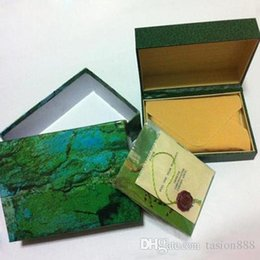 green watches for men NZ - Free shipping Luxury watch Mens For ROLEXE Watch Box Original Inner Outer Womans Watches Boxes Men Wristwatch Green box booklet card