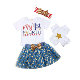 bow flags NZ - Girls Clothing Sets Short Sleeve Letter Stars Dot Mesh Princess Dress Set American Flag Independence National Day Elastic Bow Headbands