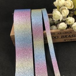 5M DIY hecho a mano de la cinta decorativa de la cinta de la PU Embalaje Cintas del arco iris DIY Crafts brillante de cinta de partido Decoraion 10mm 25mm 38mm BQ08 en venta