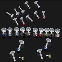 $enCountryForm.capitalKeyWord NZ - White Black Acrylic CZ Crystal Gems Monroe Lip Bar Ring Stud Piercing Body Jewelry