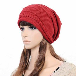 ede8e5619fdca6 Knit Baggy Beanie Hat Unisex Stylish Autumn Winter Warm Oversized Ski  Hip-Hop Cap Womens Mens Fashion Casual Hat Ne