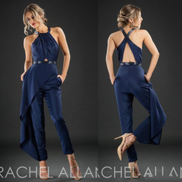 modern formal suits NZ - New Rachel Allan Cheap Evening Dresses Dark Navy Sleeveless Hollow Back Formal Wear Ankle Length Custom Made Party Pants Suit