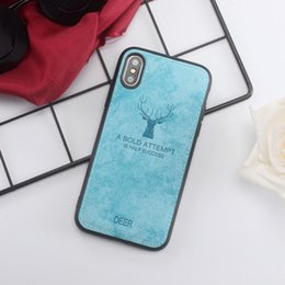$enCountryForm.capitalKeyWord Australia - Luxury Cloth Canvas Leather Texture Phone Case For iPhone 7 6S 8 Plus Deer Pattern Soft Cover For iPhone X XR XS Max