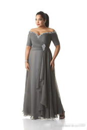 $enCountryForm.capitalKeyWord Australia - 2019 Cheap Gray Plus Size Mother of the Bride Dresses Half Sleeve Off-the-shoulder Crystal Chiffon Formal Evening Gowns Long Groom Wear