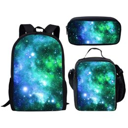cool school bags for boys UK - 3pcs School Bags Set for Kids Boys Girls School Bag Children Backpack Cool Galaxy 3D Pattern Schoolbag Boys Book Bag mochila